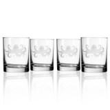 Octopus Etched Double Old Fashioned Set of 4 Glasses
