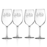 Octopus Etched Large Wine Glasses - Set of 4