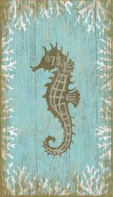 Aqua Seahorse Wall Art - Facing Left