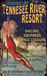 Vintage Resort Art Sign with Diving Girl