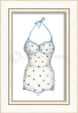 Classic Swimsuit with Blue Polka Dots Framed Art