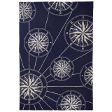 Compass Rose Navy Blue Rug