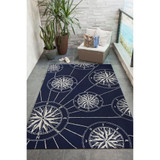 Anchor and Rope Navy Striped Area Rug lanai