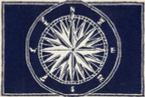 Compass Rose Navy Blue and White Area Rug small version