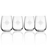 Compass Rose Etched Stemless Tumblers - Set of 4