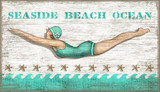 Aqua Vintage Diving Girl Wall Art