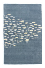 Captain's Blue Go Fish Wool Area Rug