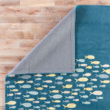 Captain's Blue Go Fish Wool Area Rug  - backing
