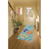 Colorful Striped Flip Flop Area Rug room view