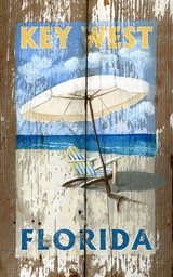 Beach Umbrella and Chair Art Sign