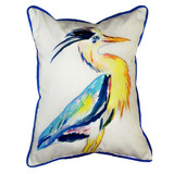 Watercolor Art Heron Beach House Pillow