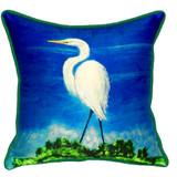 Great White Egret Beach House Pillow