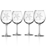 Starfish Etched Balloon Wine Goblets - set of 4