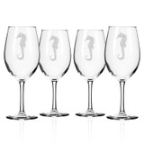 Seahorse Etched Large Wine Glasses - Set of 4