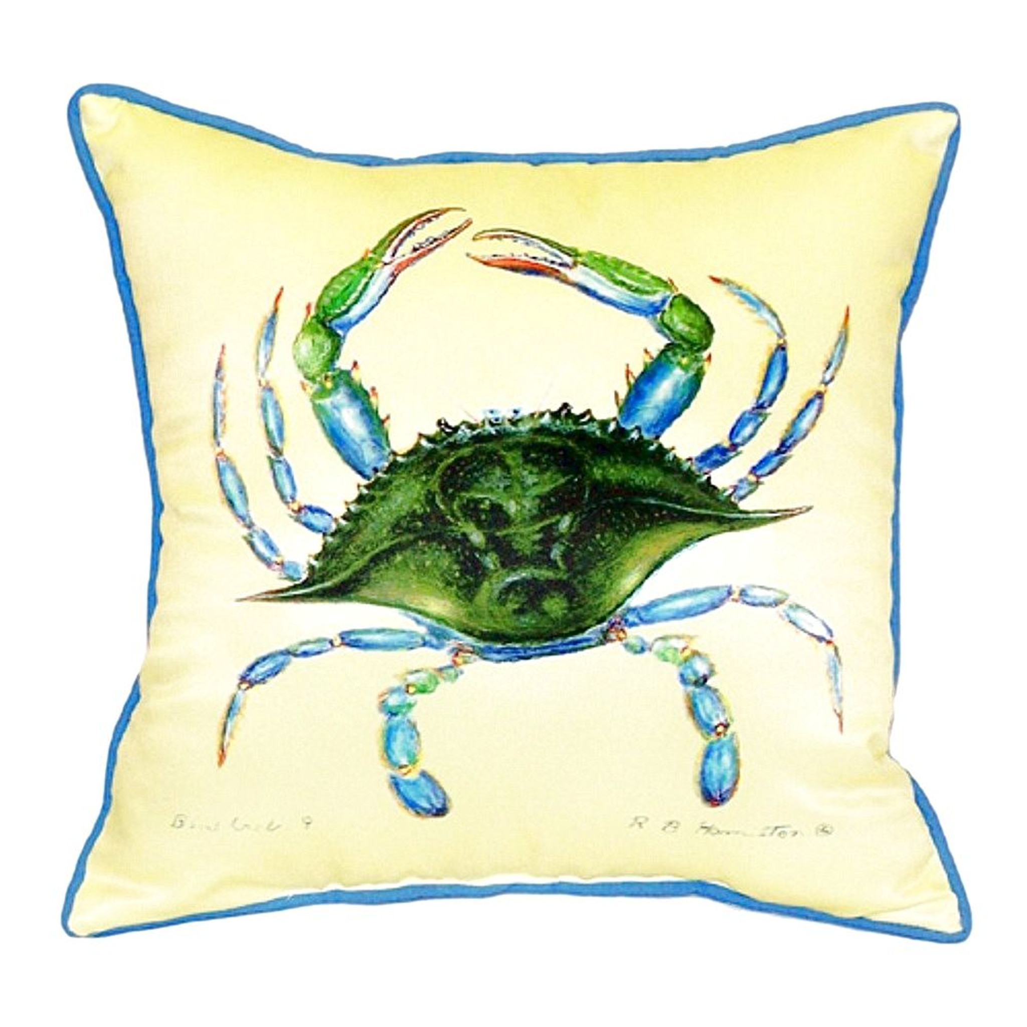 Female Blue Crab Yellow Throw Pillow