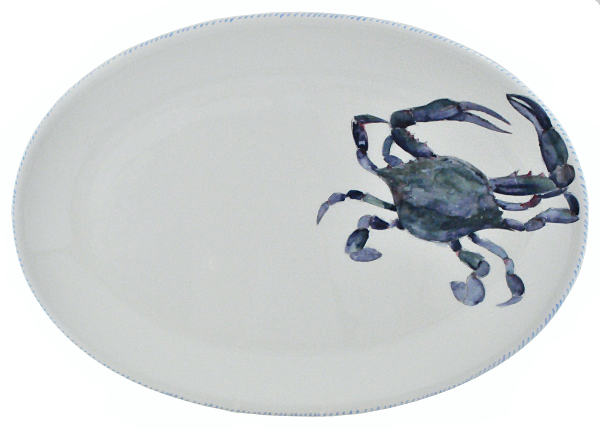 Blue Crab Oval Ceramic Serving Platter Caron S Beach House