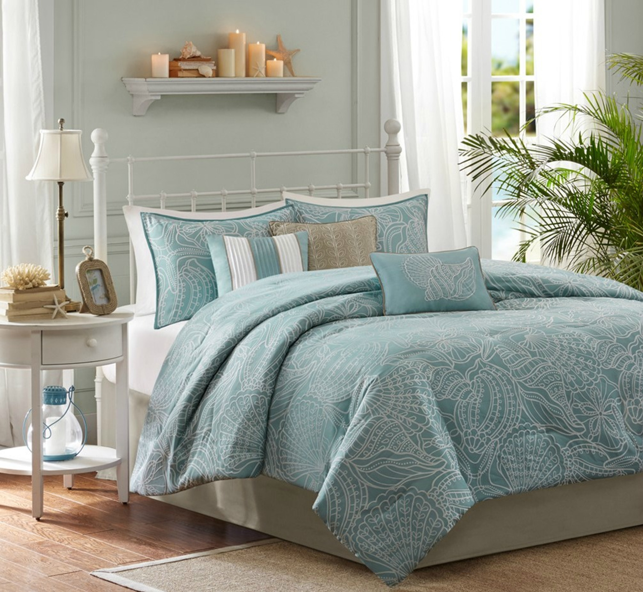 Picture of: Carmel By The Sea Blue Comforter Set Queen Size Caron S Beach House