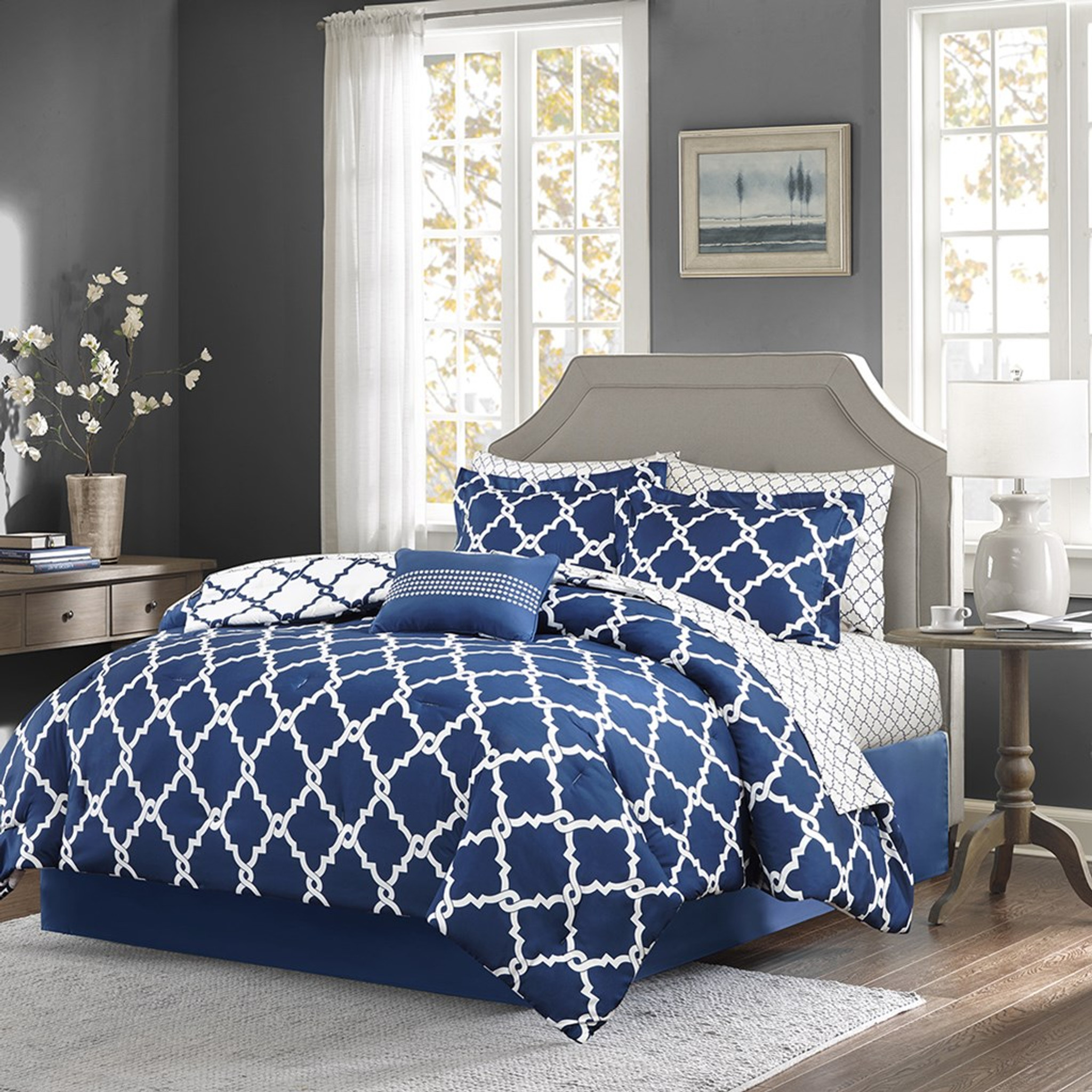 Navy Blue And White Fretwork Comforter Set Queen Size Caron S