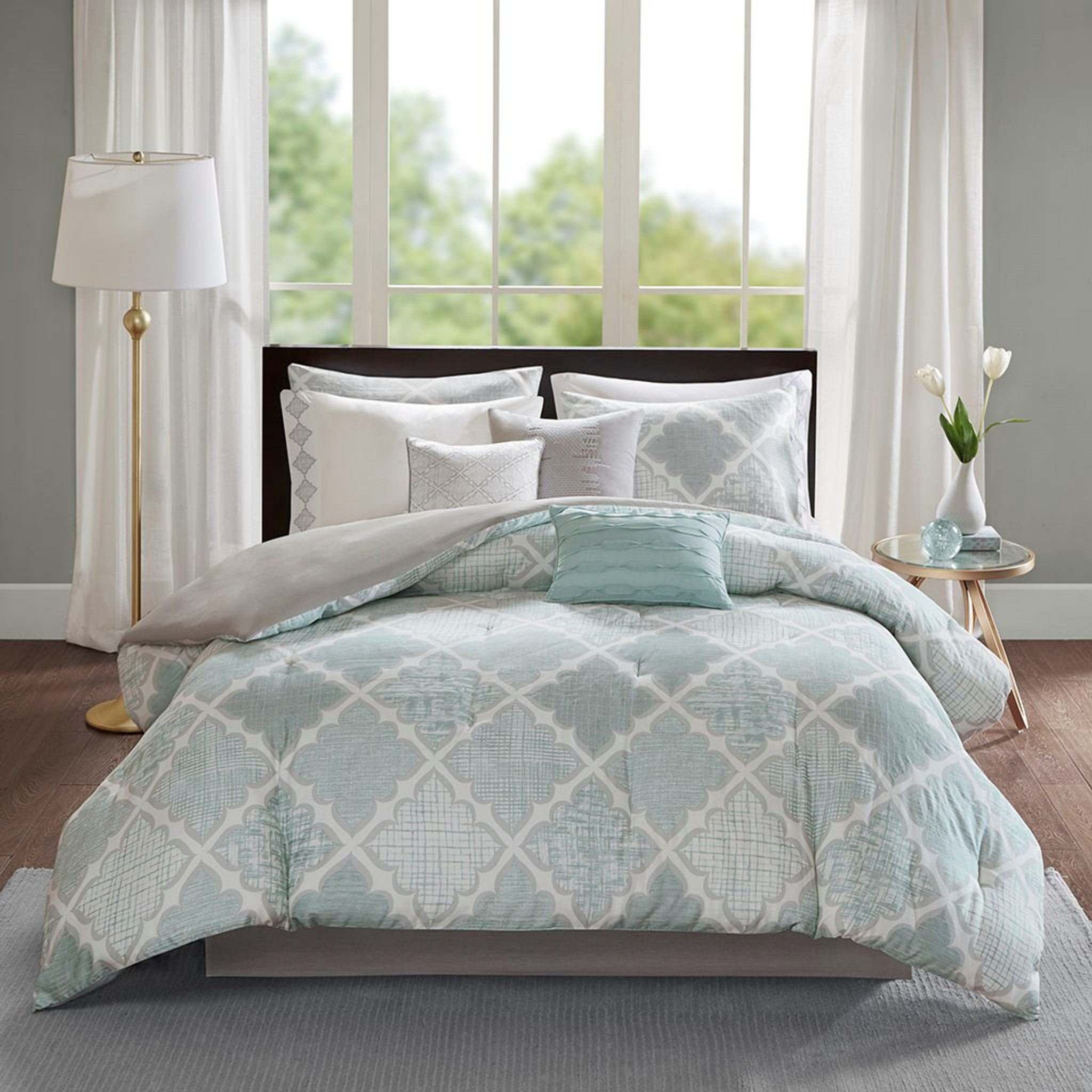 Cadence Aqua 9 Piece King Comforter Set Caron S Beach House