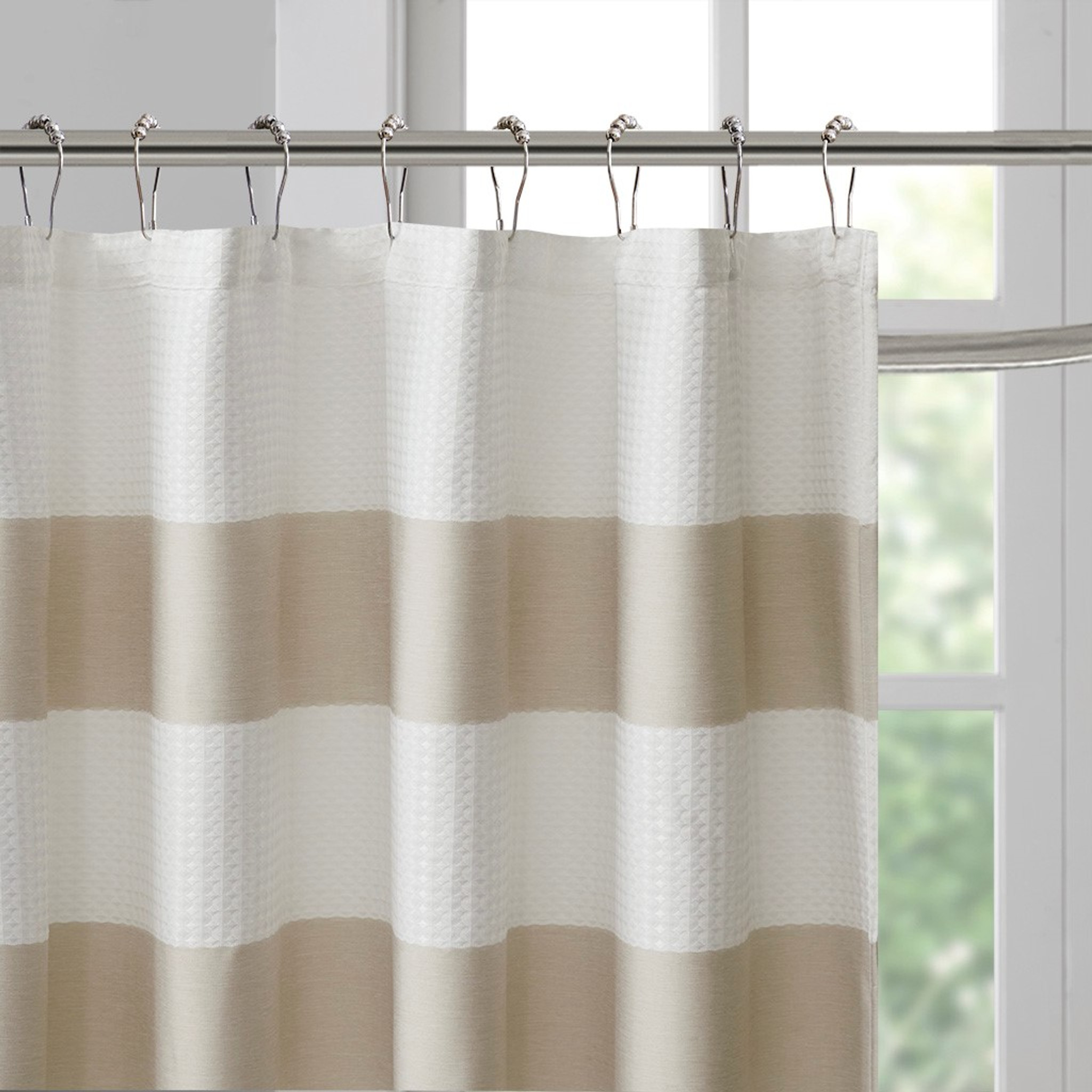 Spa 108 X 72 Taupe Striped Shower Curtain