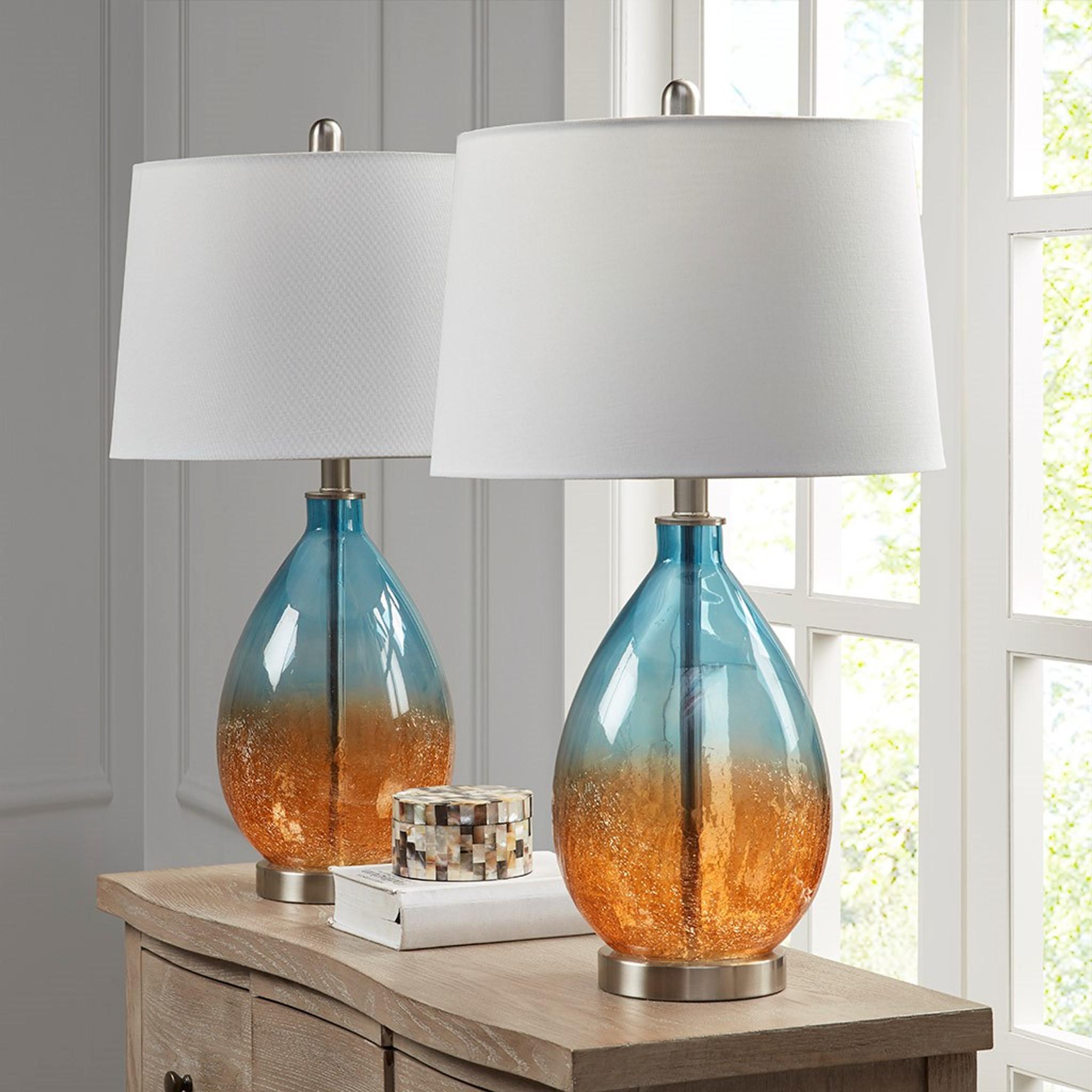 Ocean Sunset Glass Table Lamps Set Of 2 Caron S Beach House