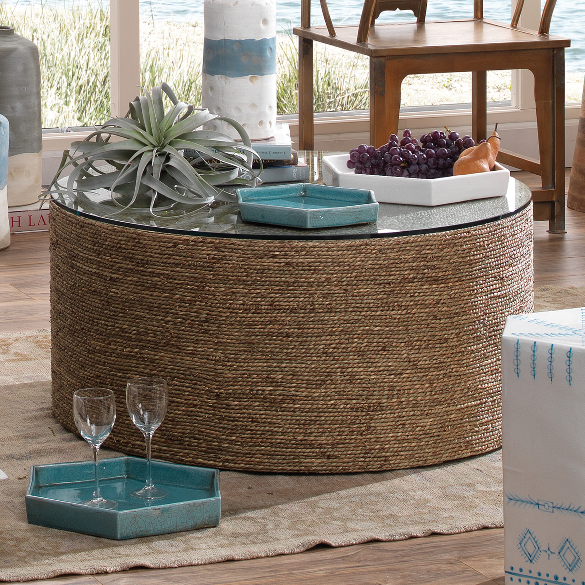 Dixon 36 Seagrass Round Coffee Table Pottery Barn [ 900 x 1000 Pixel ]