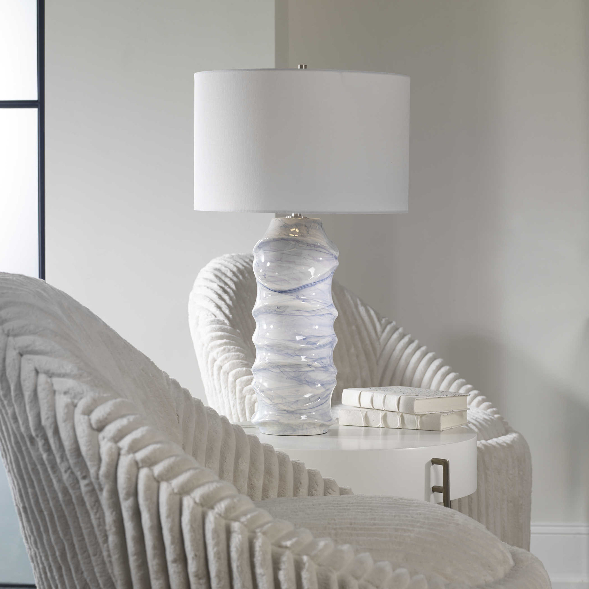 Blue Waves Sculpted Lamp