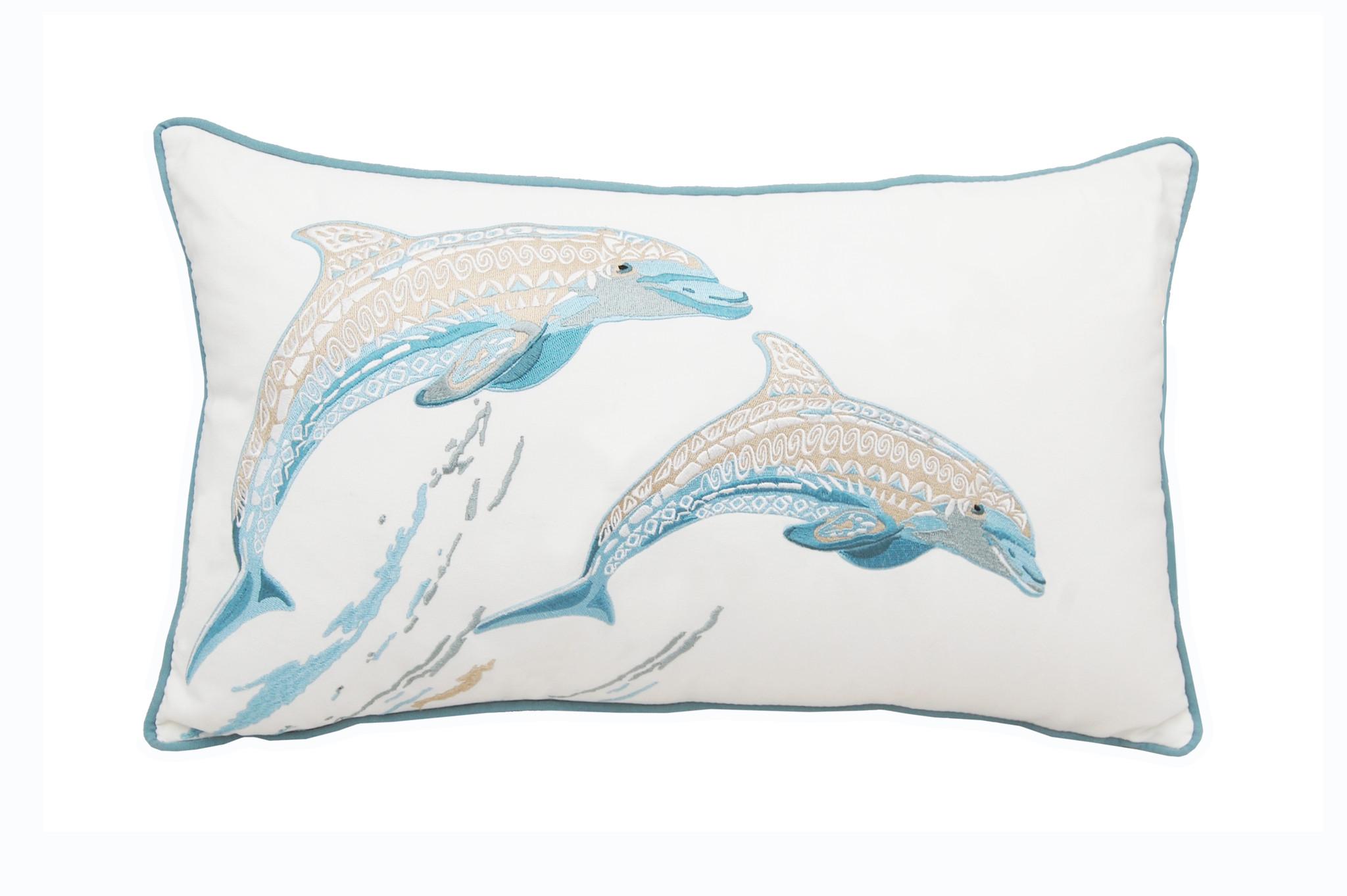 Playful Dolphin Embroidered Lumbar Pillow Caron S Beach House