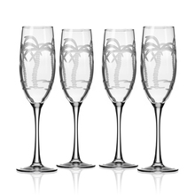 Palm Tree Etched Flute Goblets - Set of 4