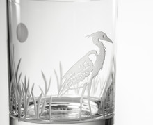 Heron Etched Double Old Fashioned Glasses - Set of 4