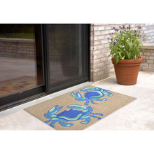 Bright Blue Crabs Area Rug 2 x 3 size