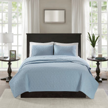 Hudson Bay Blue Quilted Coverlet Queen Size Set