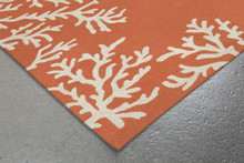 Coral Bordered Orange-Coral Area Rug corner image