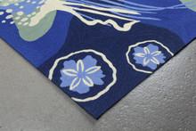 Ocean Blue Jellyfish Area Rug corner close up