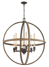 Natural Rope 6 Light Chandelier In Oil Rubbed Bronze