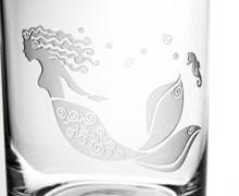 Mermaid Etched Double Old Fashioned Glasses - Set of 4 close up details