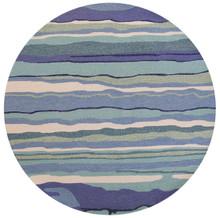 Ocean Lagoon Waves Area Rug - round