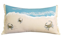 Tiny Blue Crab Sprint Embroidered Pillow