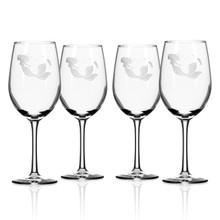 Mermaid Etched 12 oz. Wine Glasses - Set of 4