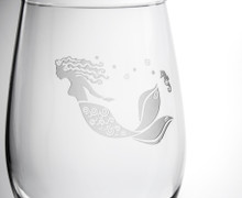 Mermaid Etched 12 oz. Wine Glasses - Set of 4 close up detail