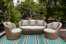 Harbor Turquoise Stripes Area Rug outdoor room image