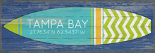 Blue and Green Chevron Stripes Surfboard Custom Art