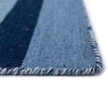 Tribeca Water Blue Striped Woven Indoor-Outdoor Rug close up pile and edge