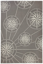 Compass Rose Nautical Grey Rug
