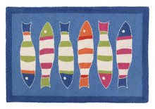 Picket Fence Blue Fish Hooked Rug