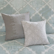 Cadence Aqua Comforter Set - decorative pillows