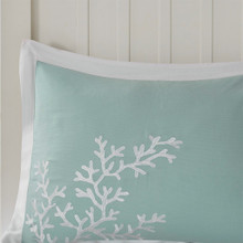 Aqua Blue Coastline Comforter Collection - Queen Size shams close up