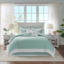 Aqua Blue Coastline Comforter Collection - Queen Size room image 2
