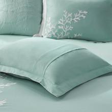 Aqua Blue Coastline Comforter Collection bedding close up