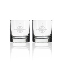 Compass Rose Etched Whiskey Decanter and Rocks Glass Set-rocks glasses